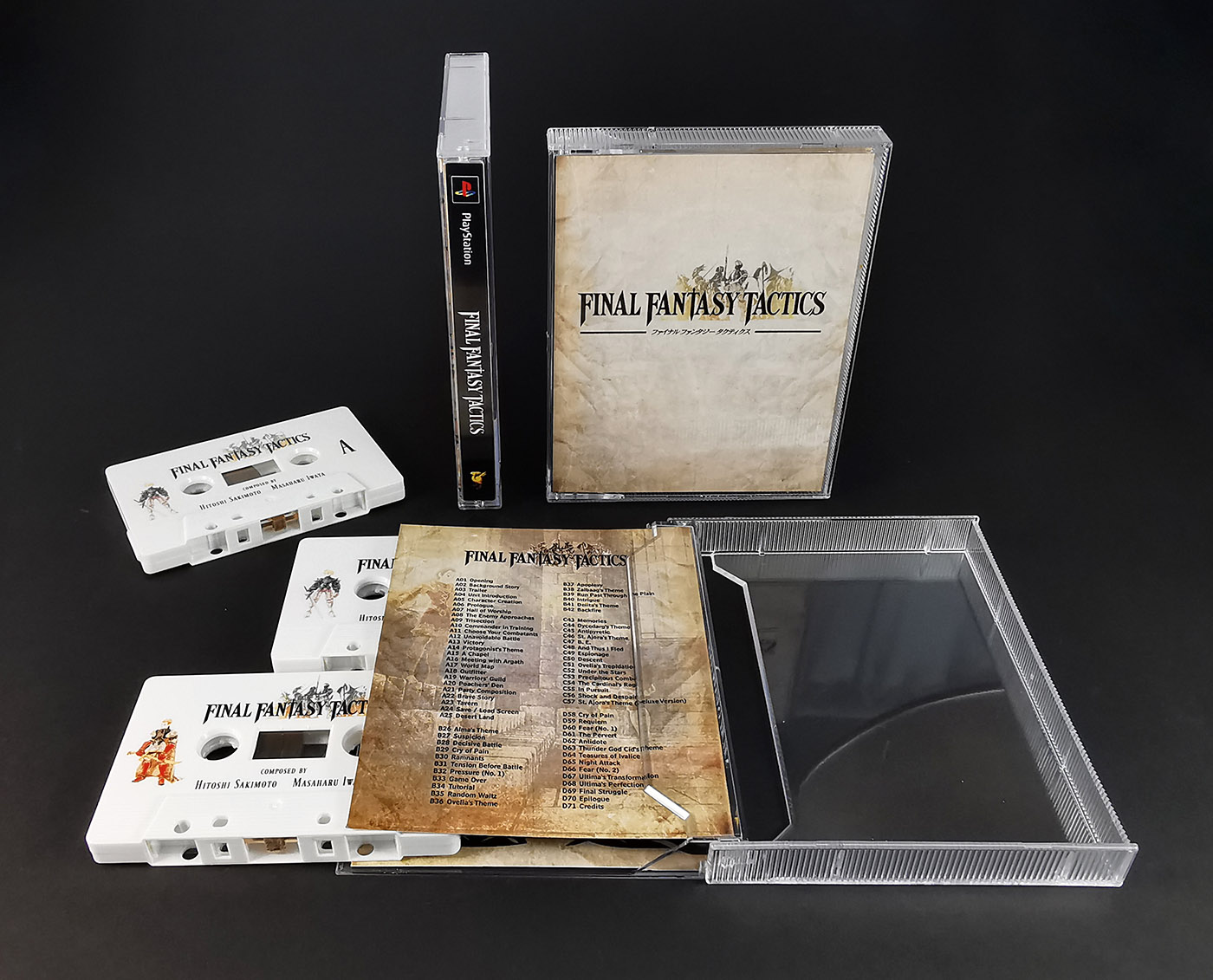 Final Fantasy Tactics double cassette tape set in our tall double stacked tape cases