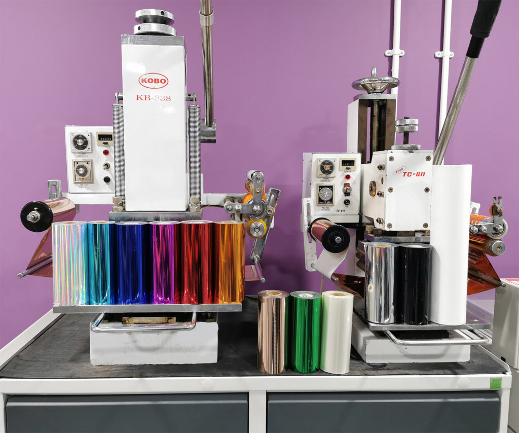 Our hot foil printers with the different colour foils on display