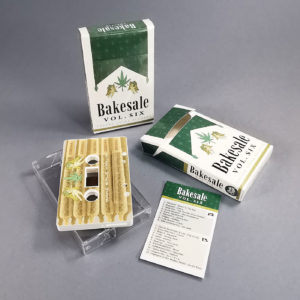 White cassette tapes with full colour on-body printing, packed in our cigarette-style packs with white liners