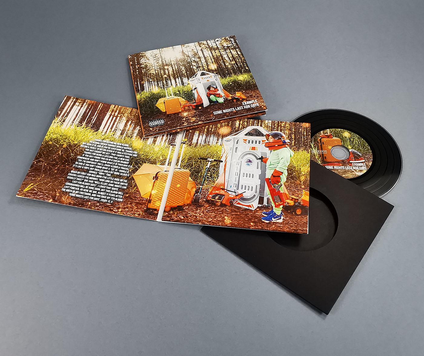 Four page oversized gatefold vinyl CD wallet with plain black inner