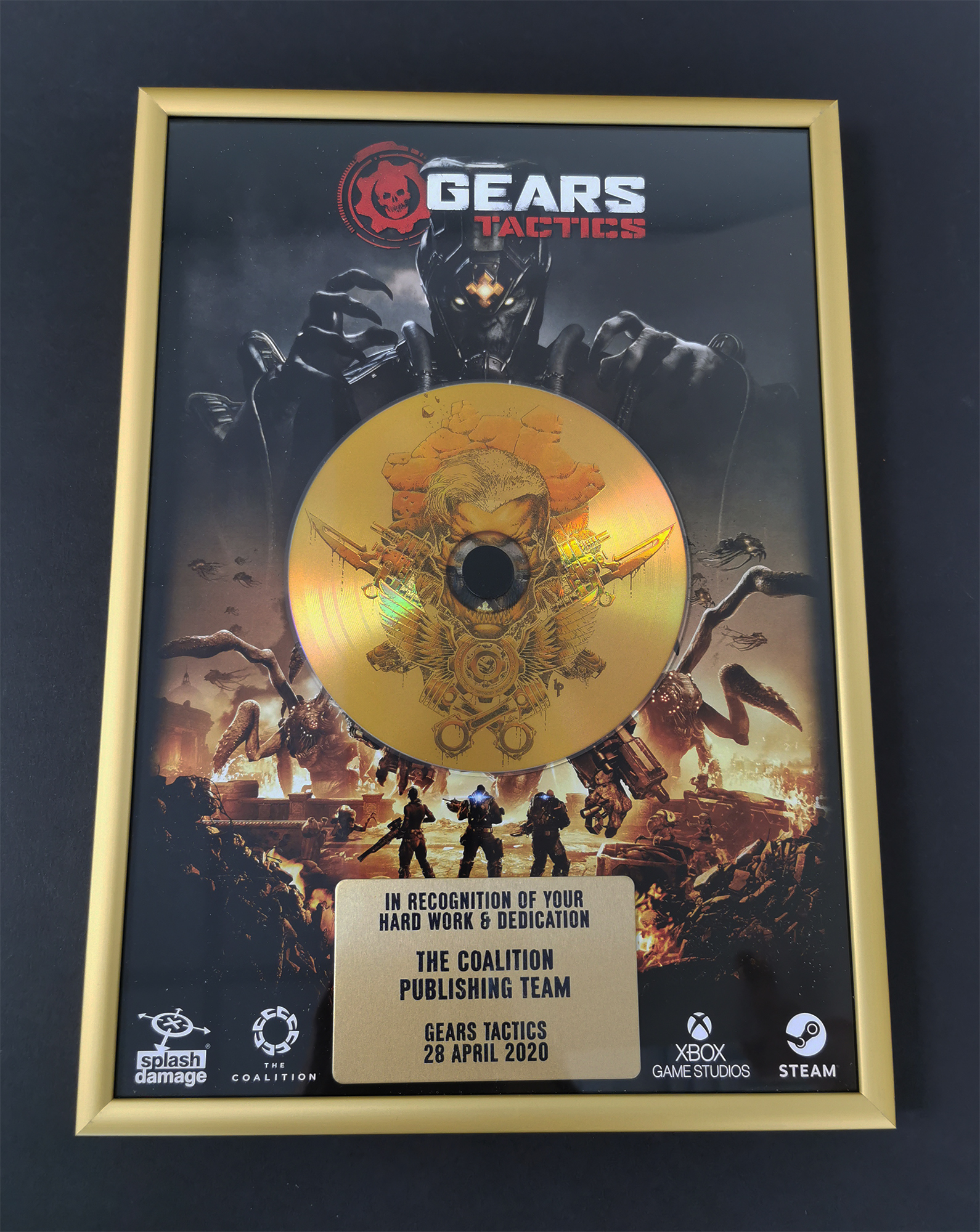 Gold vinyl disc, custom printed plaque and full colour printed background frame