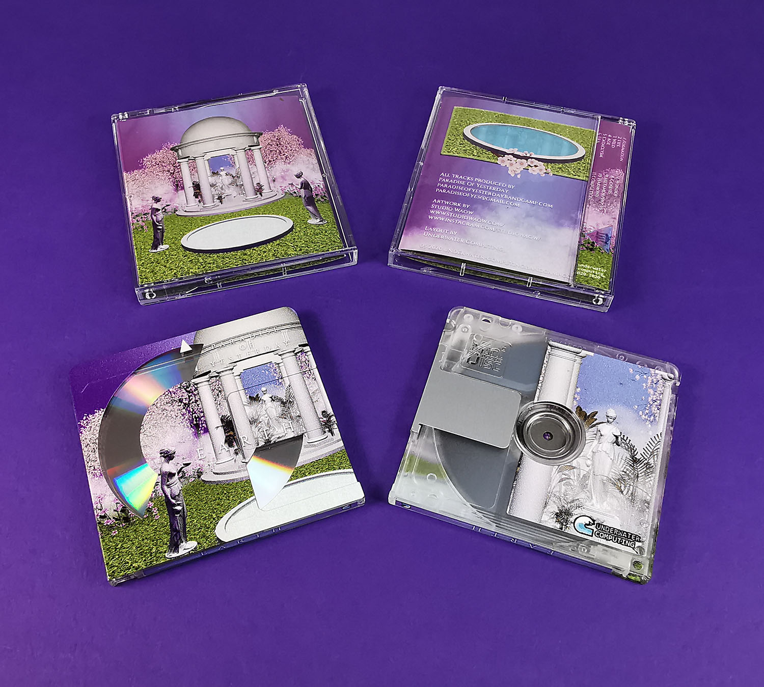 Clear MiniDiscs with full coverage on-body printing and a partial white base layer for a transparent circular effect