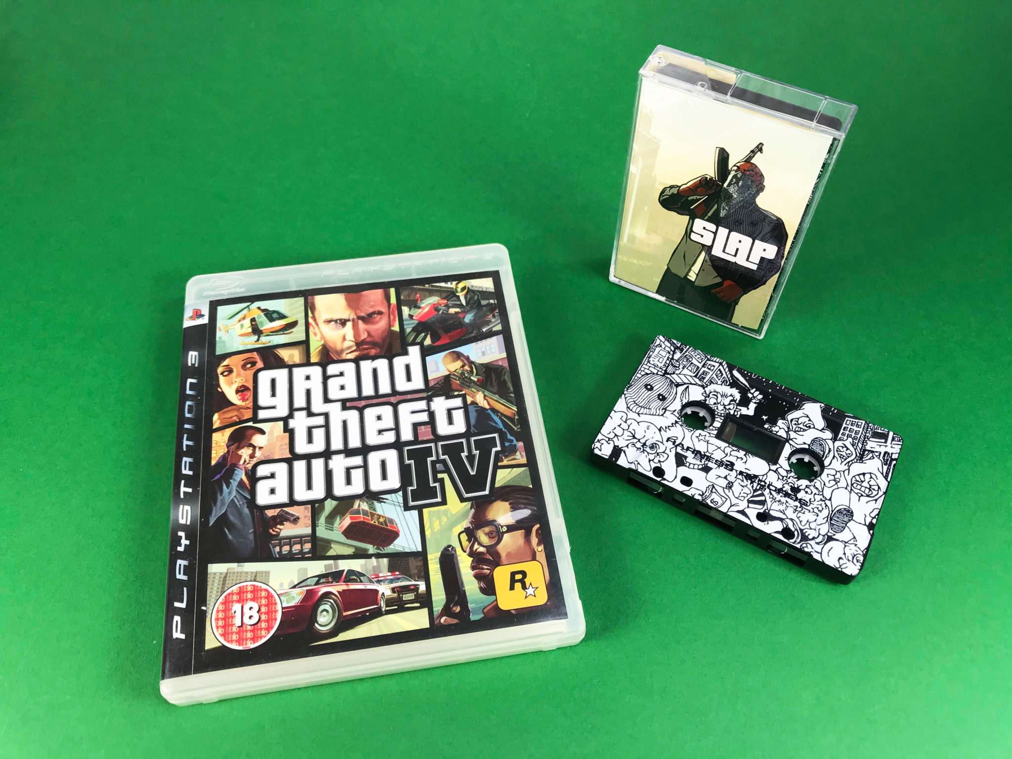 Grand Theft Auto style tapes produced for 'Slap'