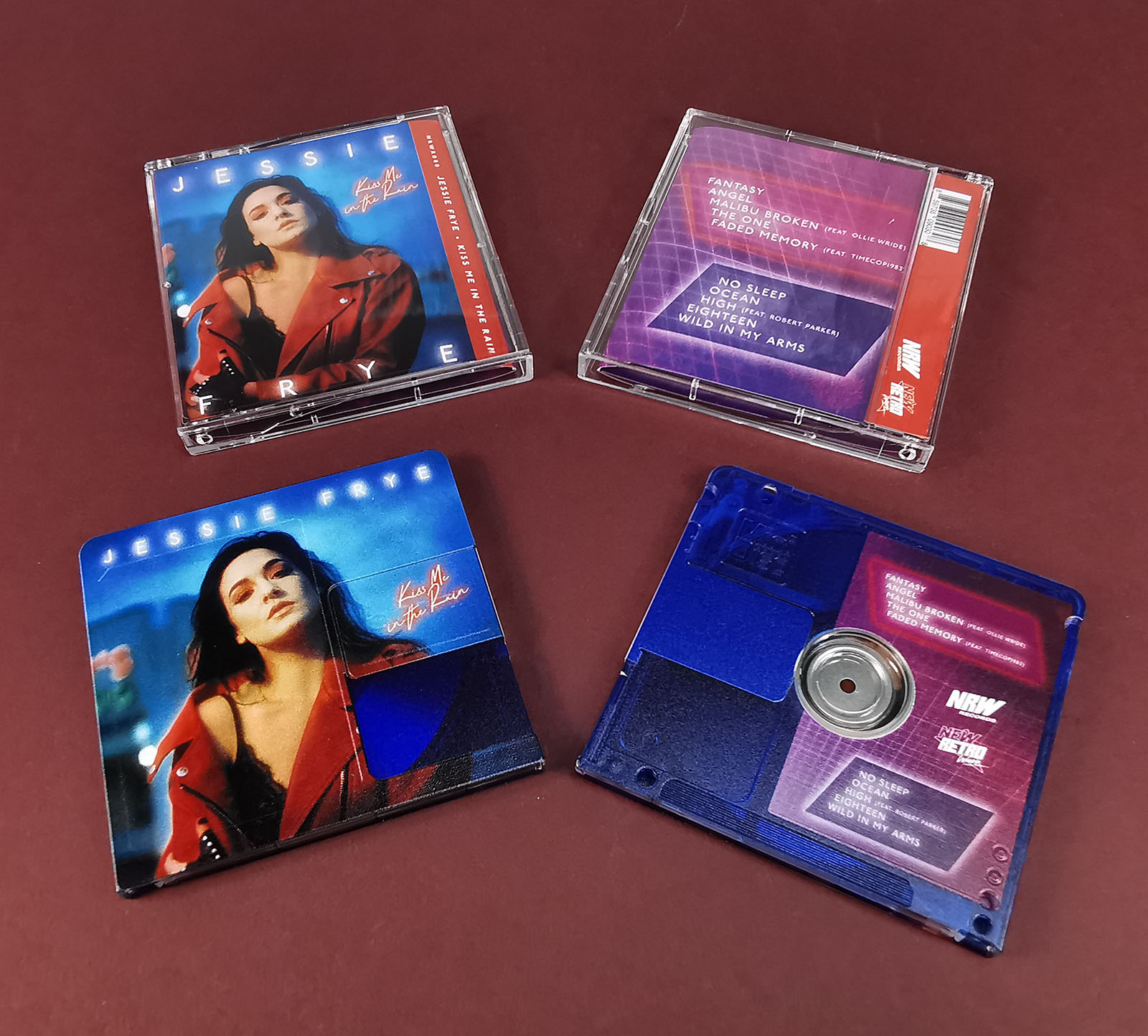 Clear transparent MiniDiscs, printed with a dark blue tint and full colour artwork