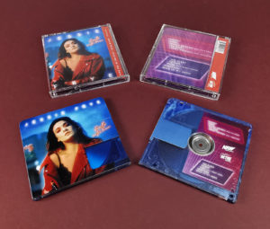Clear transparent MiniDiscs, printed with a light blue tint and full colour artwork