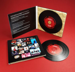 Musicians for Musicians fundraising black vinyl CDs in 4 page eco digipaks that are 100% recycled