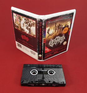 Full coverage on-body printed cassette tapes to look like VHS tapes and packed in white rave cases