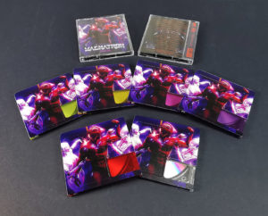 A set of six different colour printed MiniDiscs, using clear base discs and then printing transparent colour front windows and full colour backs of the MiniDiscs