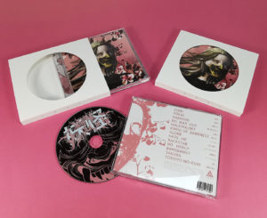 Custom printed CD jewel case O-card with central cutout hole and glass mastered CDs