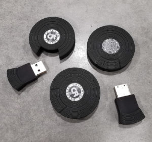 Black vinyl-style USB drives with black and white printing