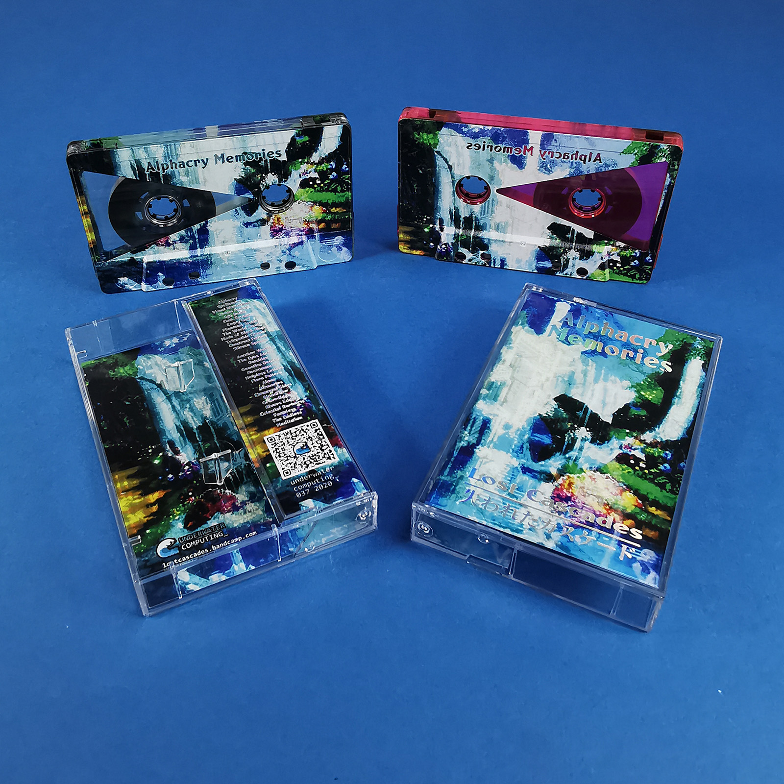 Clear prison and transparent pink cassettes with custom on-body printing and J-cards with a holographic print