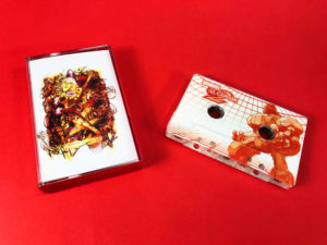 Clear cassette tapes with full coverage on-body printing, in transparent red back tape cases with J-cards