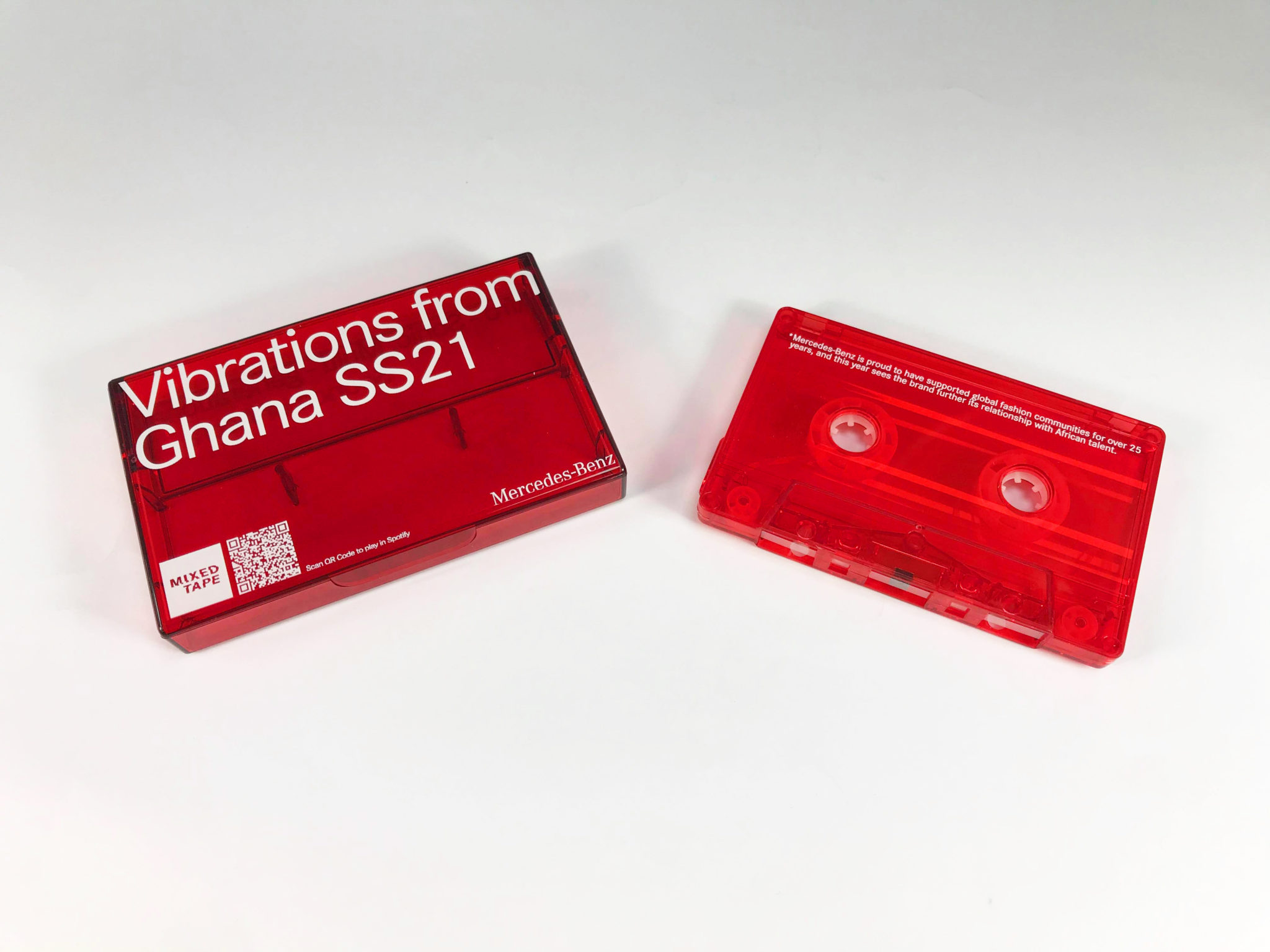 Transparent clear cassette tapes and cases, both with white on-body prints