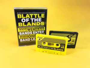 Yellow and black double cassette set with sticker printing and packed in clear tall double tape cases