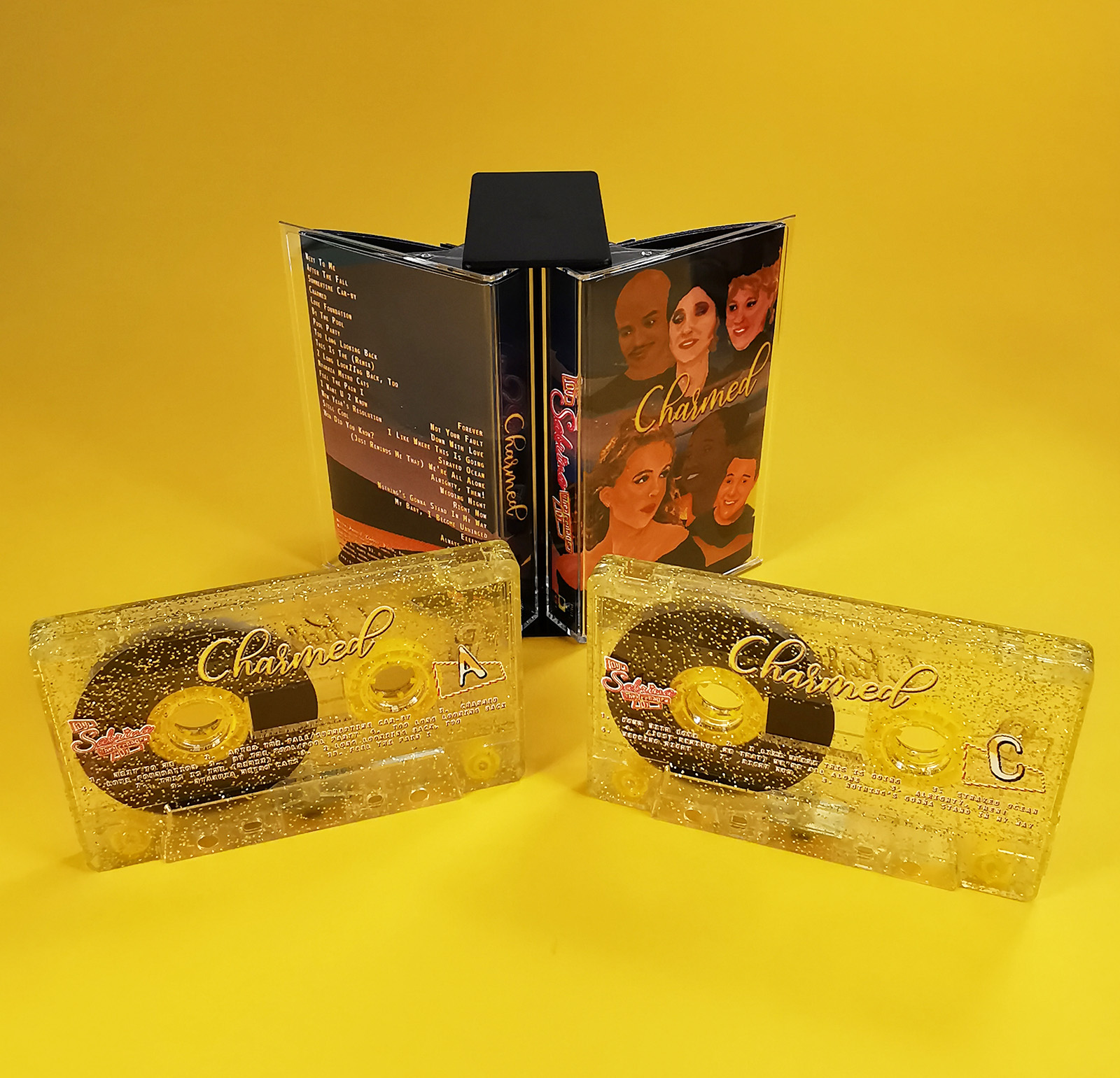 Gold glitter tape double set in a butterfly case with on-body colour printing