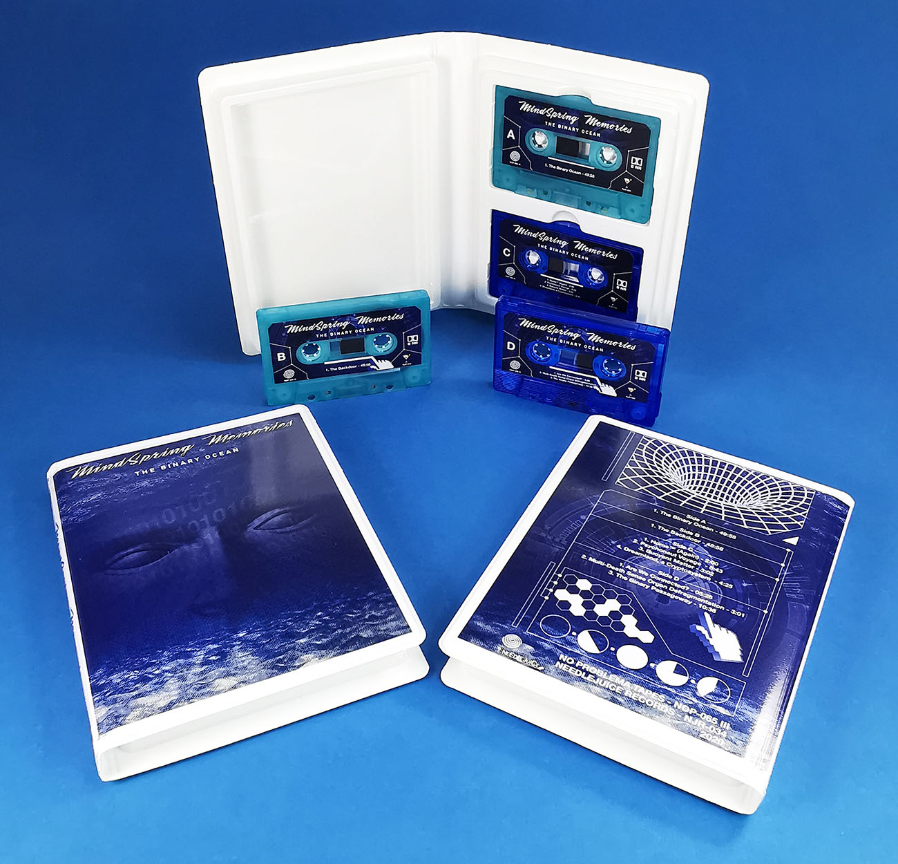 Double white rave case with transparent blue and turquoise tapes with sticker printing