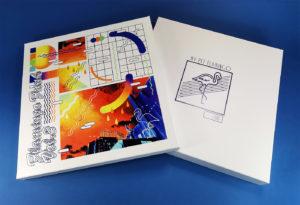12 inch vinyl white boxset with full colour UV-LED lid printing and blue metallic foil base printing