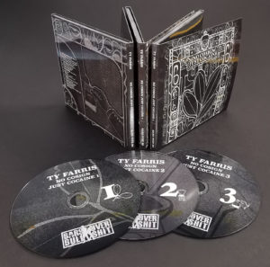 A triple set of six page CD digipaks with gloss lamination, booklets and 4/4 printing to cover the inner spines
