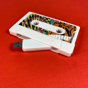 White USB storage drive with full colour sticker printing