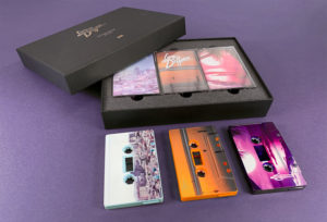 Triple cassette tape box sets in gold foil printed boxes