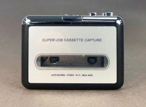 Portable stereo cassette tape player (front)
