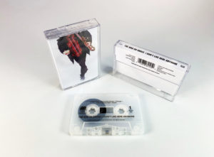 Recycled clear frosted cassette shells with a black on-body print in clear cases with full colour 5 panel J-cards