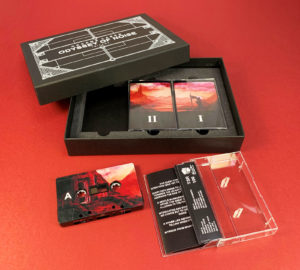 Triple cassette tape box sets in solid white printed boxes